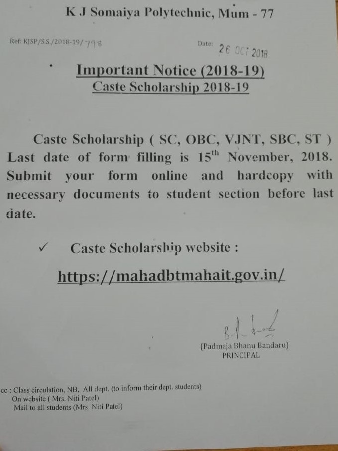 Somaiya Vidyavihar   Somaiya Polytechnic Noticeboard